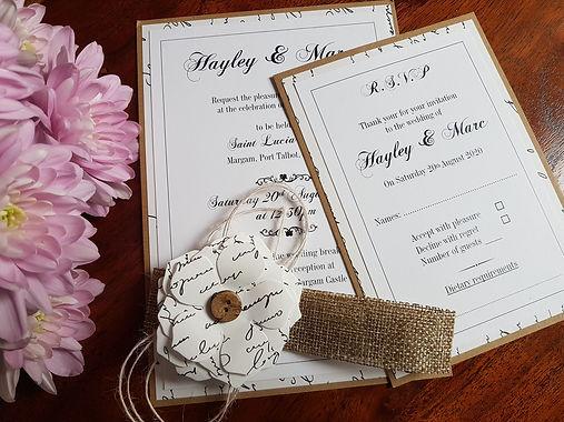 VINTAGE SCRIPT RUSTIC WEDDING INVITATION