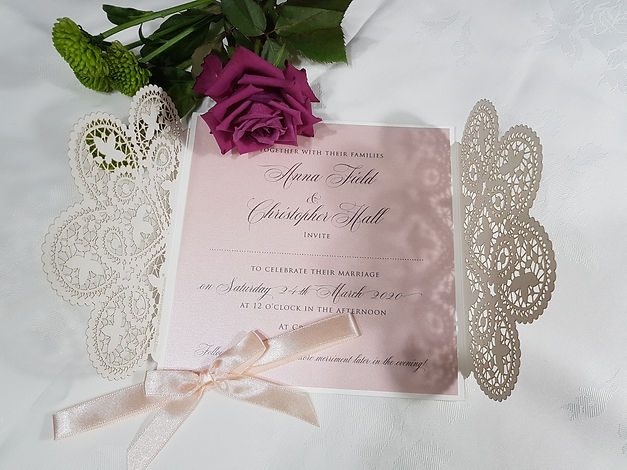Ivory-Blush pink Gatefold Laser cut wedd