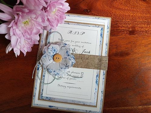 VINTAGE BLUSH BLUE RUSTIC WEDDING INVITATION