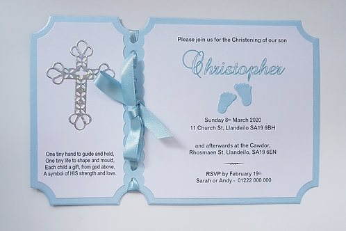 Baby boy christening invitation