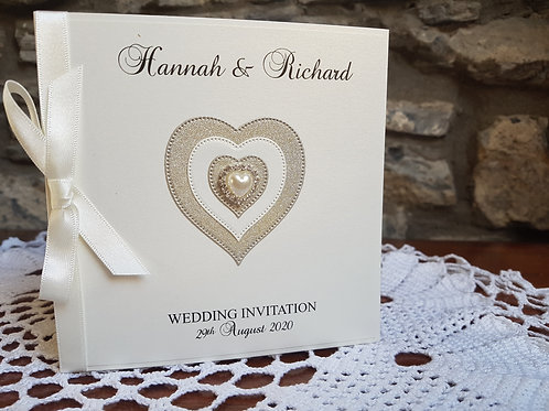 Ivory pocketfold Wedding invitation with gold glitter heart