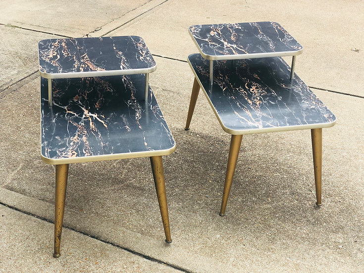 Two-Tiered Faux Marble End Tables