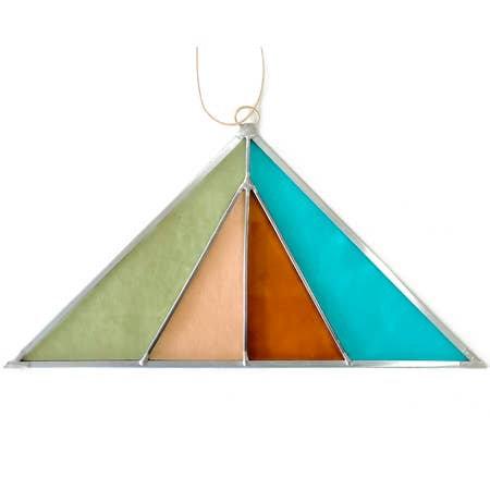 Triangle Stained Glass Suncatcher - Sea