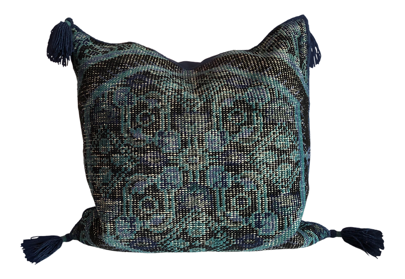Hand Knotted Pillow - Blue/black