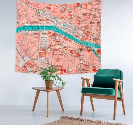 Paris Map Wall Tapestry