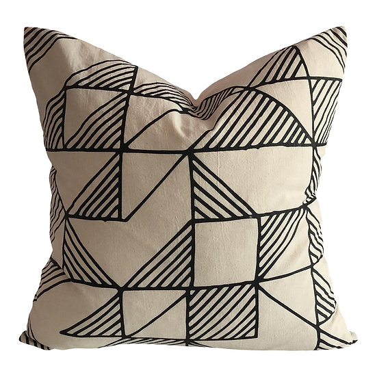 Boho Chic Shadow Block Organic Cotton Pillow