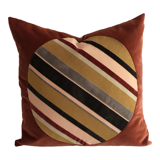 Red Circle Stripes Velvet Pillow