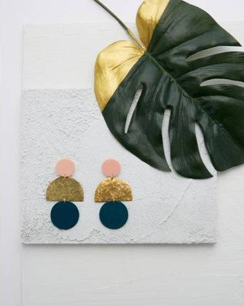 Pale Pink and Teal Circle Earrings