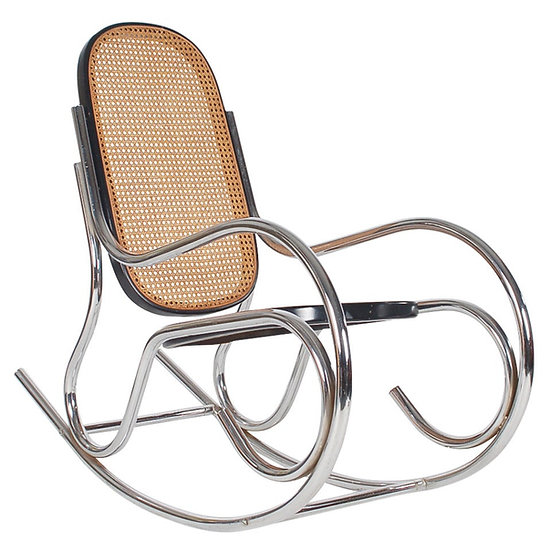 Scrolled Chrome + Cane Rocking Chair -  Marcel Breuer Style