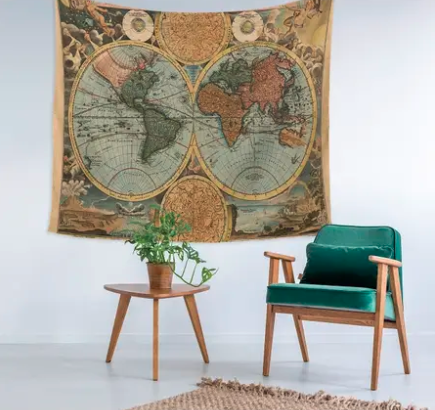 Vintage Travel Wall Tapestry