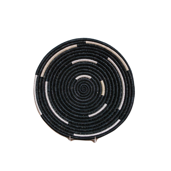 Medium Silver Black Spiral Basket