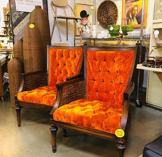 70's Velvet Armchairs