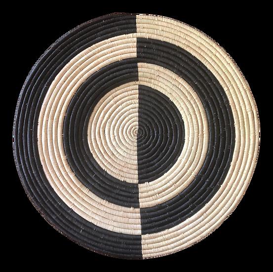 Geo Black Large Raffia Plate