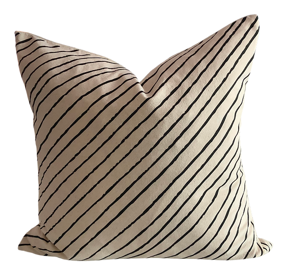 Boho Chic Diagonal Stripe Organic Cotton Pillow