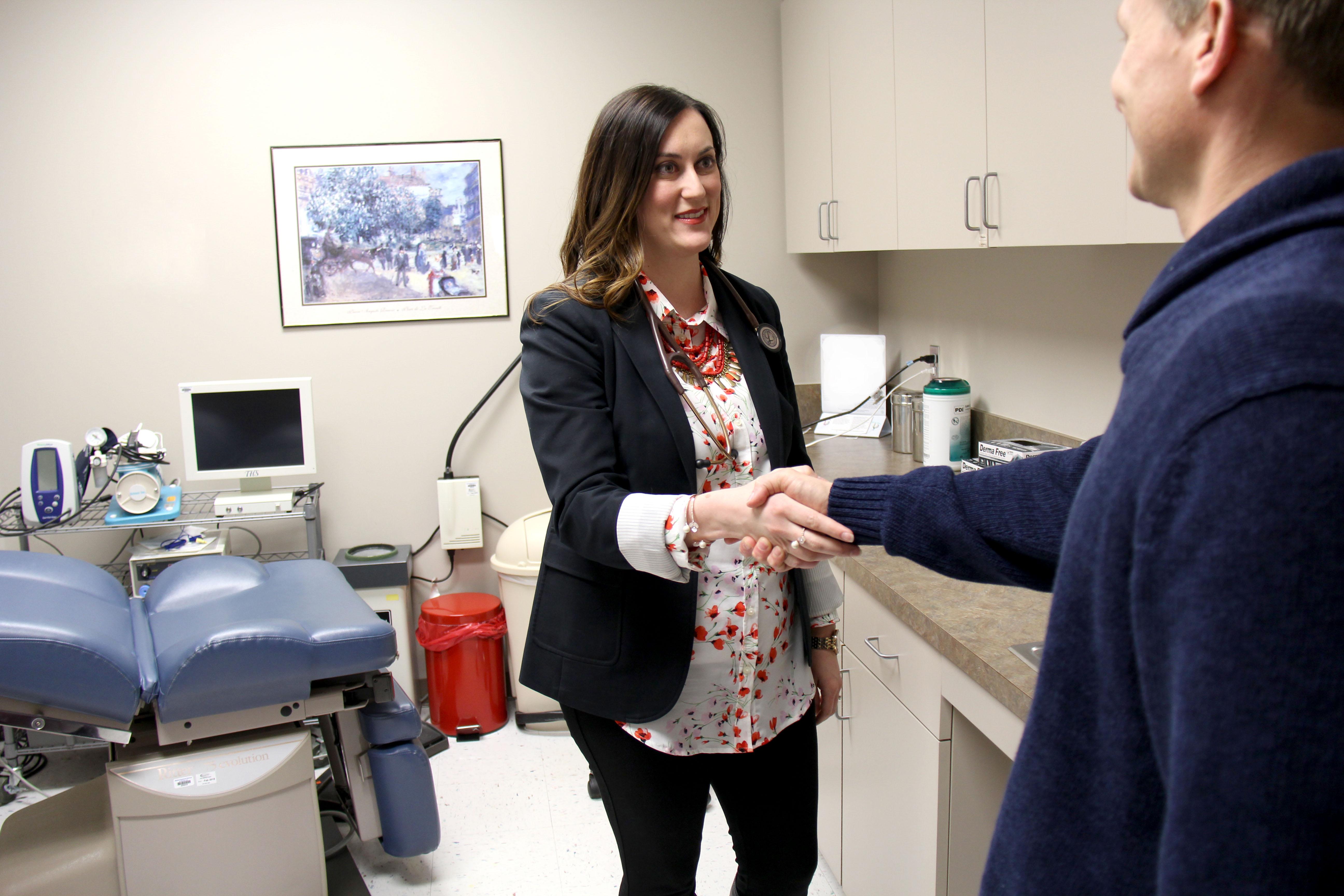 Dr. Steventon Greets Patient