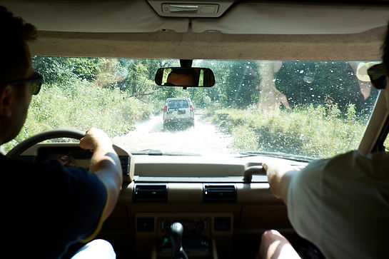 Off-road driving inside car view