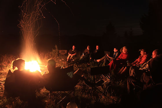 Group around a camp fire