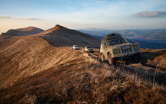 4WD tracks on top of the Carpathian Mountains