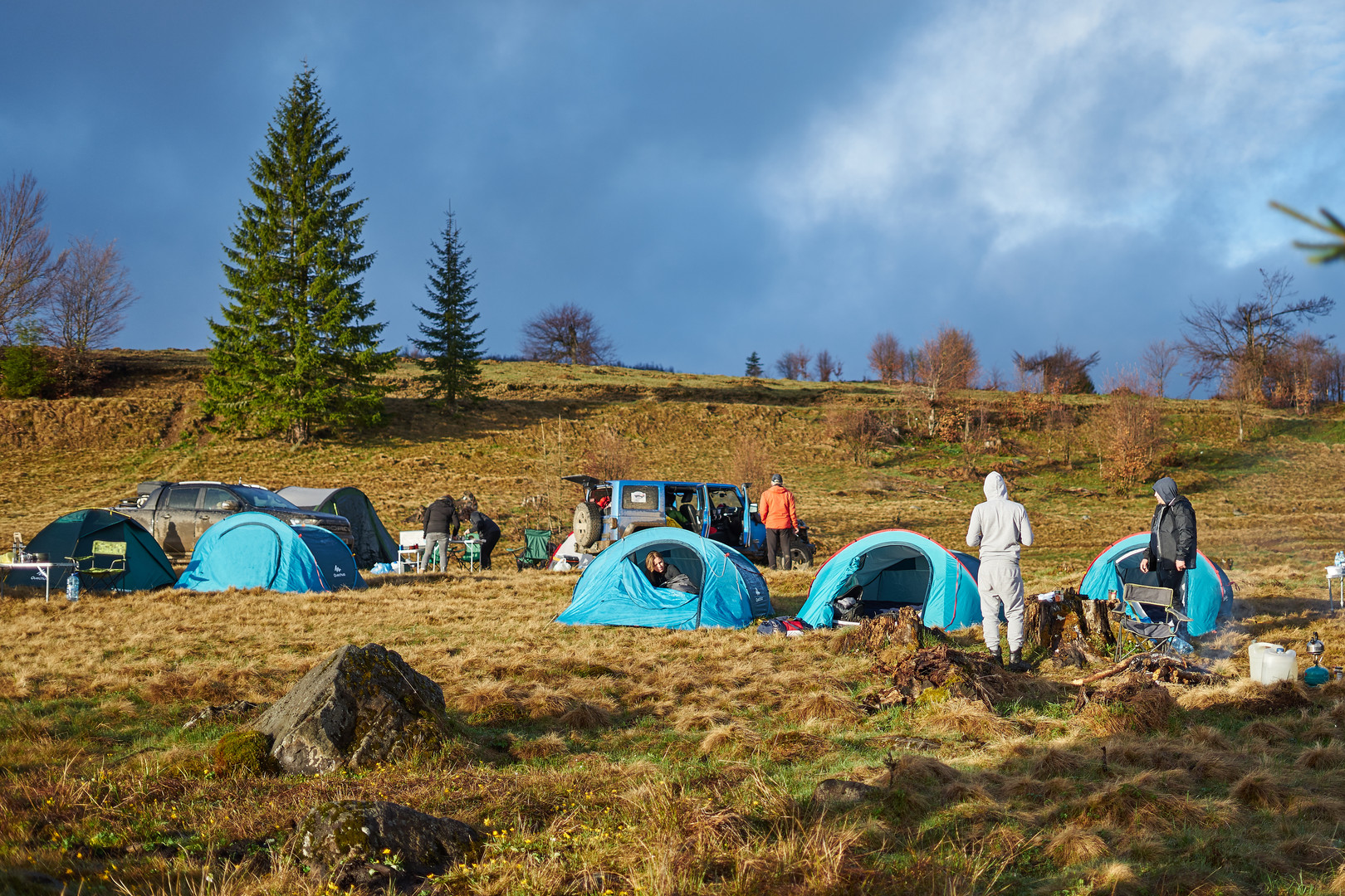 Wild camping in the field