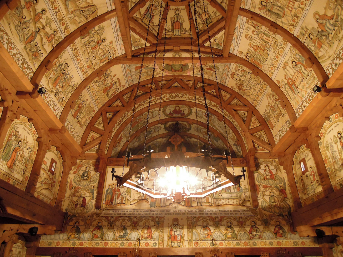 Frescoes inside a wooden church
