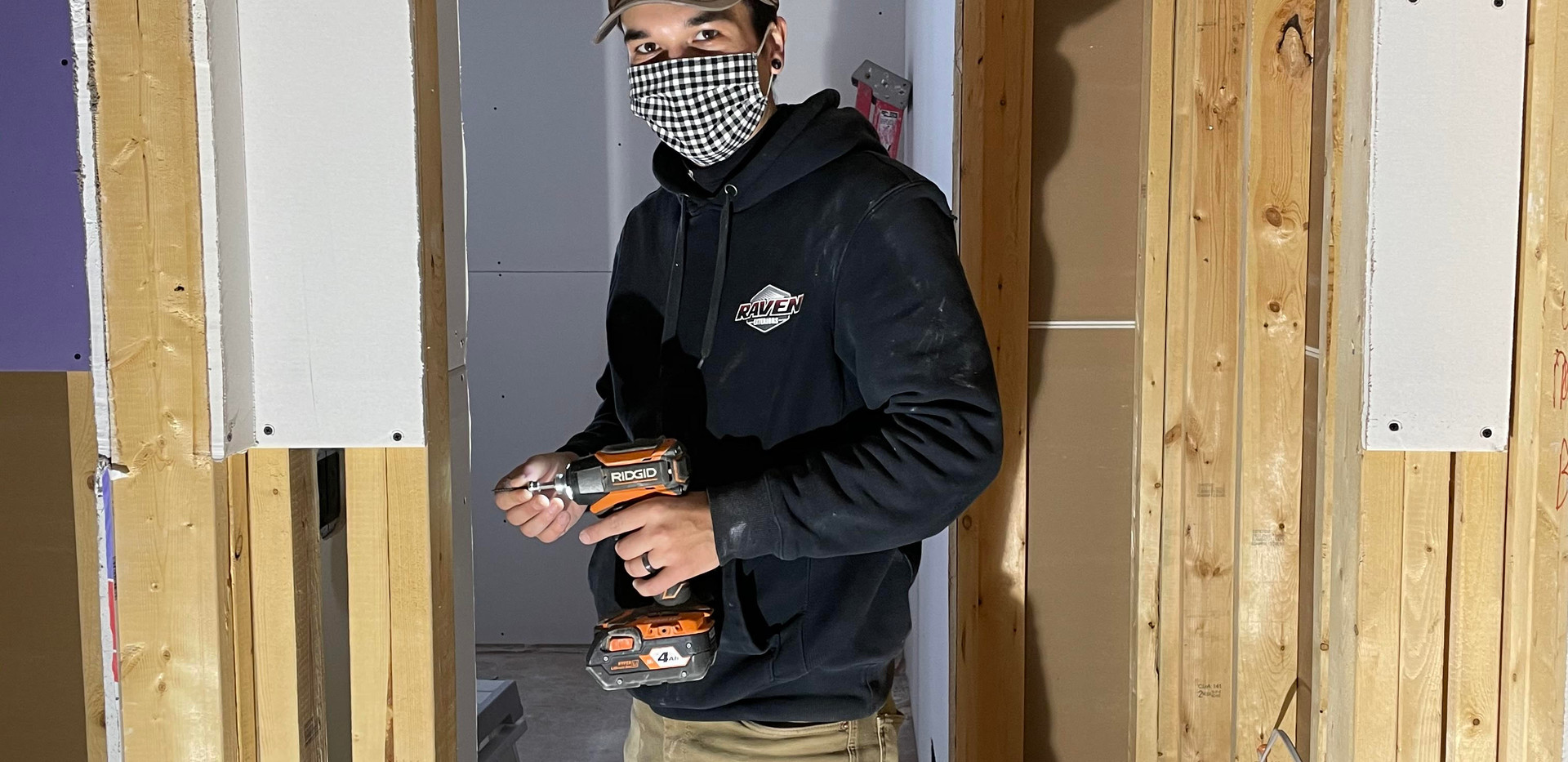 Mike hanging drywall