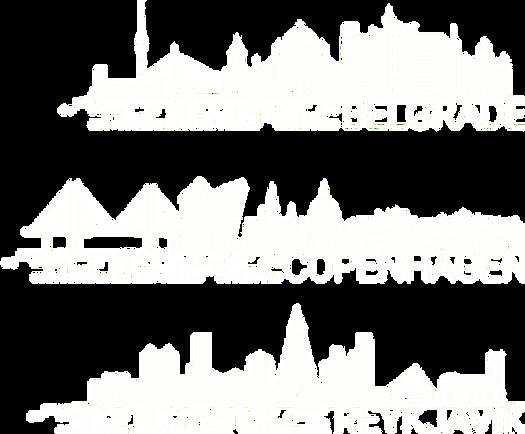 Belgrade Copenhagen Reykjavik Skylines