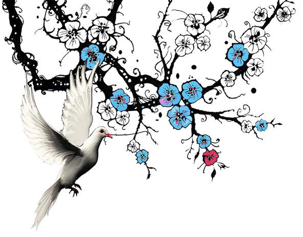kyyhky ja siniset kirsikan okasta.jpg