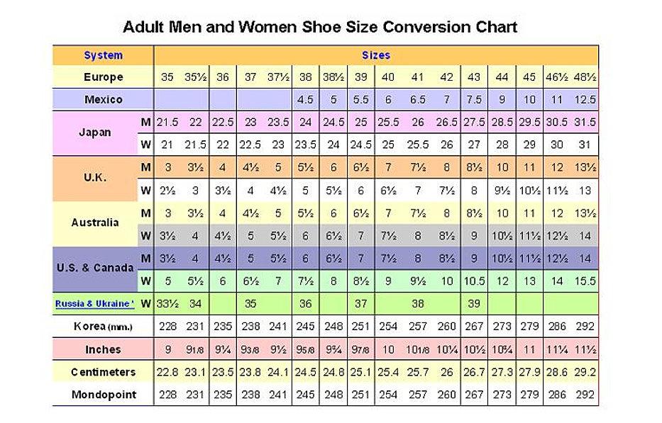 japan shoe size chart