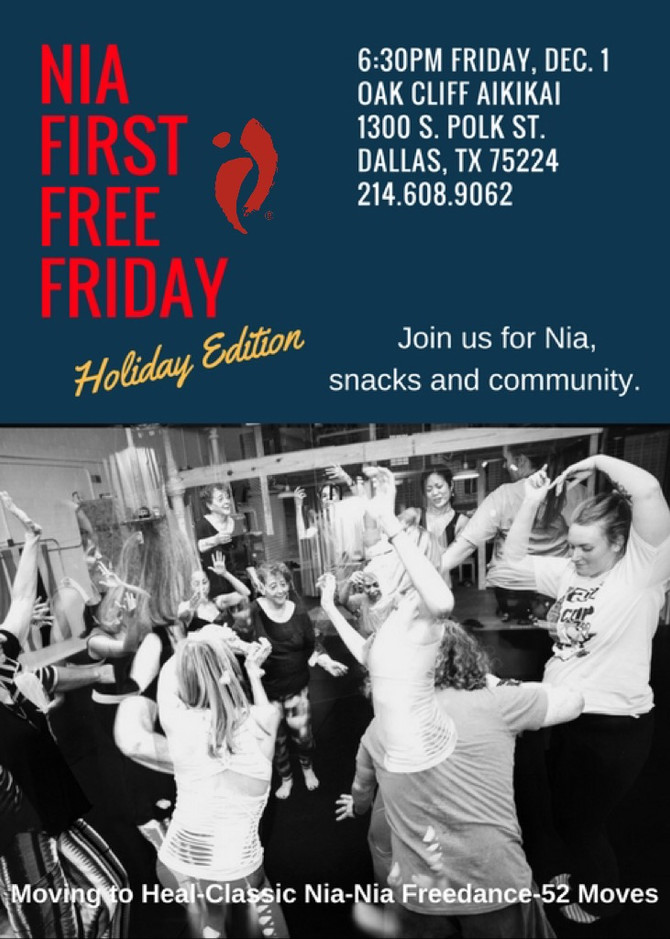 Join Us for Nia, snacks and Community.  Nia First Free Friday-Holiday Edition