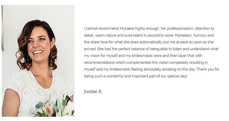 Justine R. testimonial image MYK evenetn