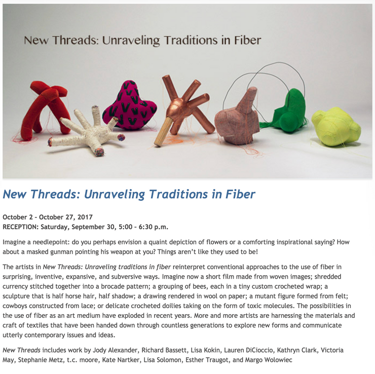 New Threads opens Oct 2 at Cabrillo Gallery