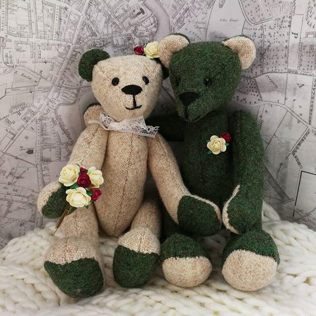 Sweet Harris Tweed wedding bears