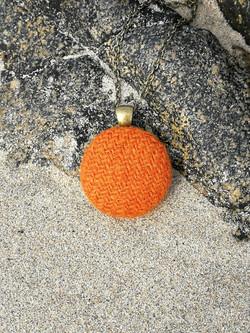 Orange Harris Tweed pendant