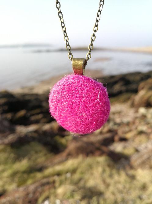 Harris Tweed Bright Pink Pendant