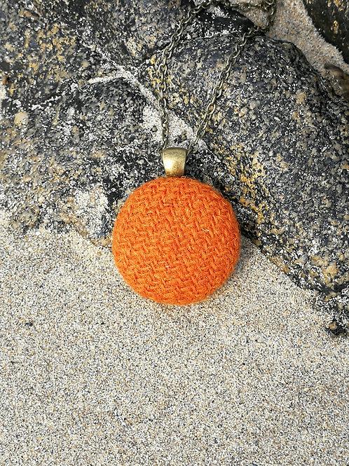 Harris Tweed Orange Pendant