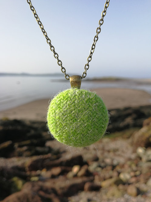 Harris Tweed Lime Green pendant