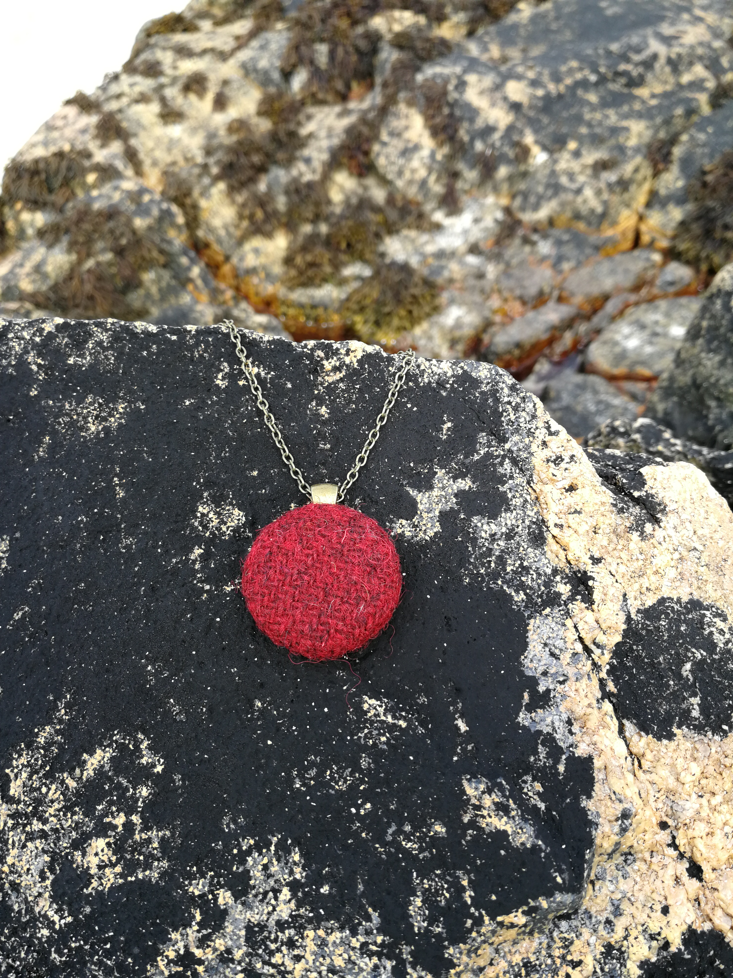 Red Harris Tweed pendant