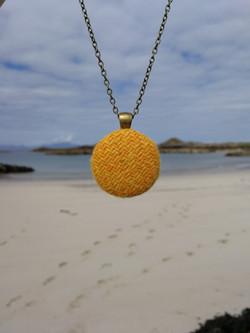 Yellow Harris Tweed pendant
