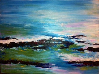 Charlene Wright blue lake shore waves acrylic painting.JPG