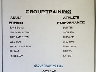SUMMER GROUP TRAINING SCHEDULE