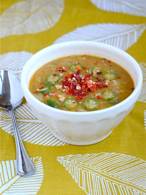 Vegetarian Yellow Lentil, Tomato & Okra Stew