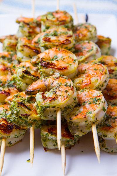 Lemon Pesto Grilled Shrimp Skewers
