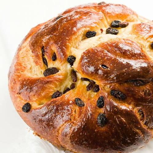 Braided Round Challah - with Raisins