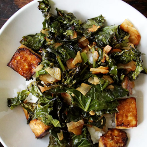 Tofu and Tuscan Kale Vegetarian Bowl