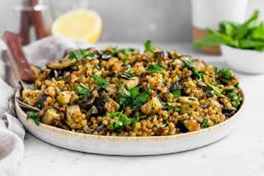 Pearl Couscous with Roasted Eggplant, Feta & Garbanzo