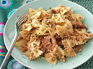 Bowtie Pasta, Kasha, Caramelized Onions and Sauteéd Mushrooms