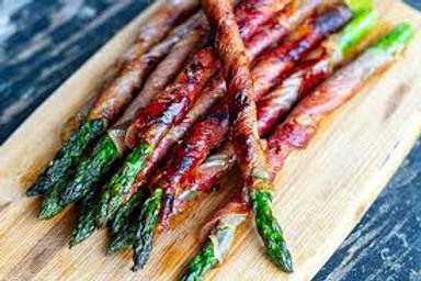 Grilled Asparagus Tips with Imported Provolone CheeseWrapped in Parma Proscuitto