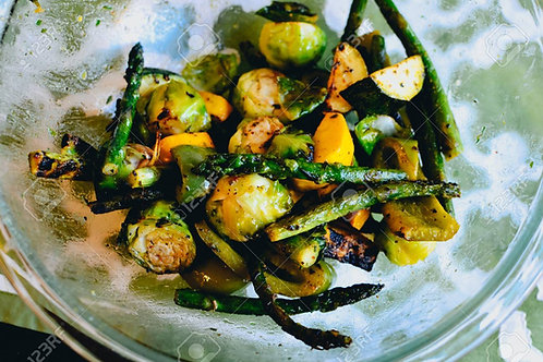 Grilled Summer Squash, Asparagus & Brussels Sprouts