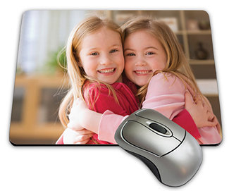 Great shot of two girls having a hug printed on a mouse pad.