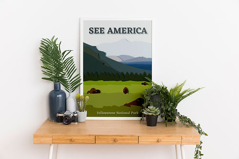 Yellowstone National Park poster leaning on green outdoorsy table
